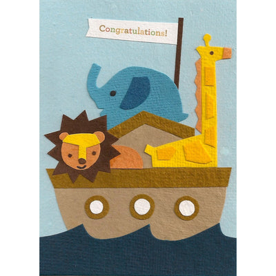 Congratulations Ark - Handmade and Recycled New Baby Card