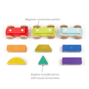 Magnetic wooden train with captions