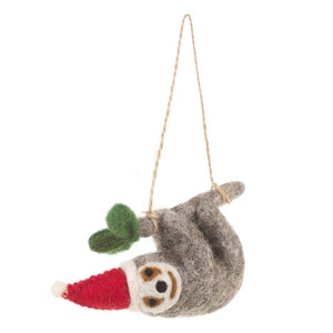 Needle Felt Sloth Christmas Tree Decoration