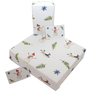 Recycled Christmas wrapping paper - Christmas snowmen