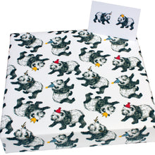 Load image into Gallery viewer, Recycled Christmas wrapping paper - pandas and hats