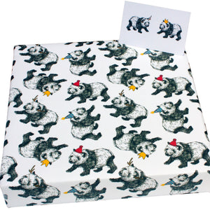 Recycled Christmas wrapping paper - pandas and hats