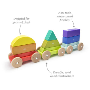 Wooden train from Tegu with magnetic shapes showing formations