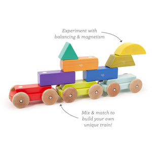Wooden train with magnetic shapes formations and captions