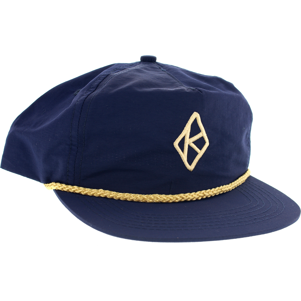 a84b57df89b Krooked Diamond K Hat Adjustable Navy Gold