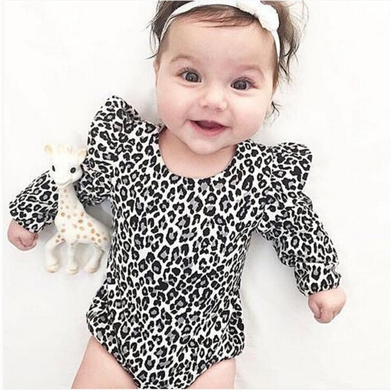 Leopard Print Long Sleeve Cotton Romper - Beaus and Ribbons