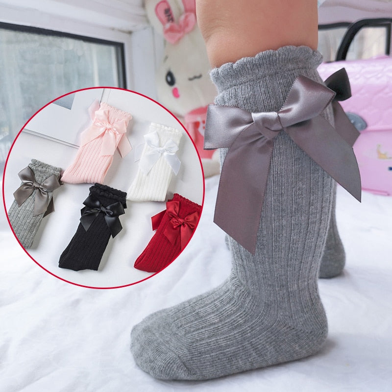 Girls Bow Cotton Lace Knee Tights Newborn - Beaus and Ribbons