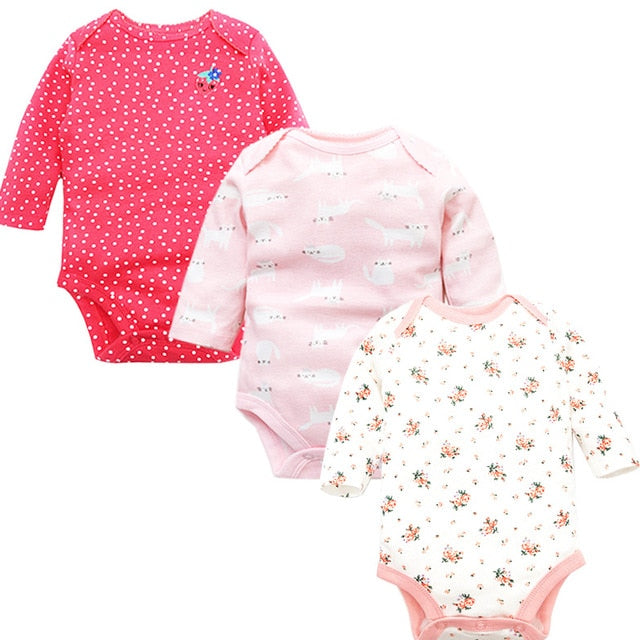 100% Cotton Newborn Baby Long Sleeve Bodysuits 3 pc Set - Beaus and Ribbons