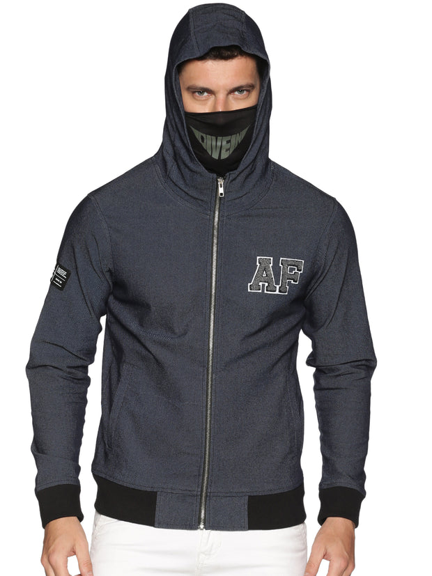 New Arctic Fox Male Denim Black Jacket with Integrated Mask & Hoodie