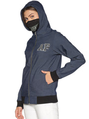 New Arctic Fox Female Denim Blue Jacket with Integrated Mask & Hoodie