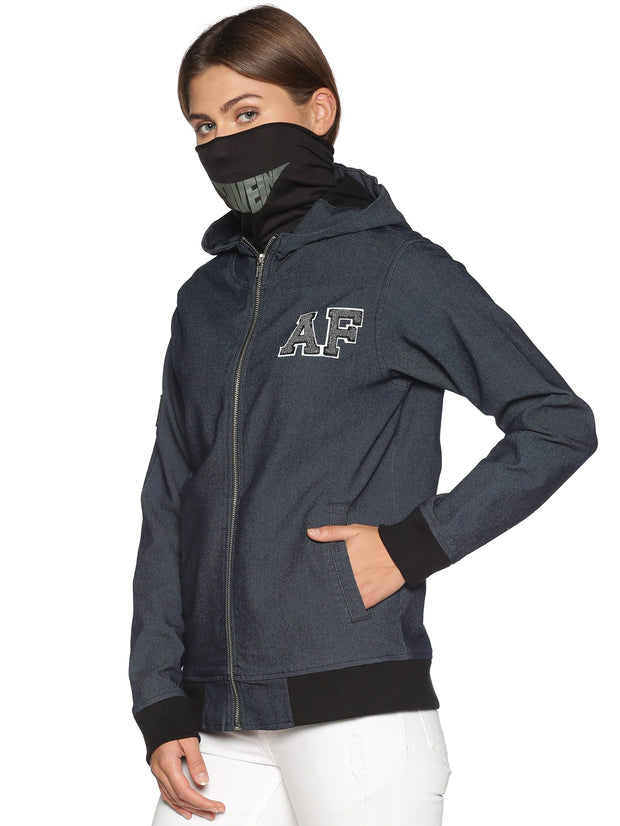 New Arctic Fox Female Denim Black Jacket with Integrated Mask & Hoodie