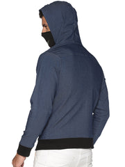 New Arctic Fox Men Denim Blue Jacket with Integrated Mask & Hoodie