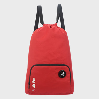 Arctic Fox Draw String Red Backpack