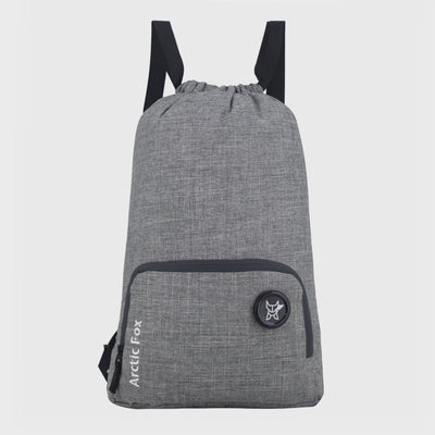 Arctic Fox Draw String Grey Backpack