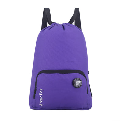 Arctic Fox Draw String Purple Backpack