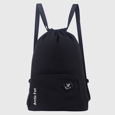 Arctic Fox Draw String Black Backpack