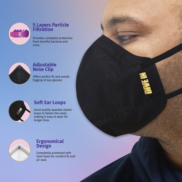 Arctic Fox N95 Respirator (Black) Mask Gold Series