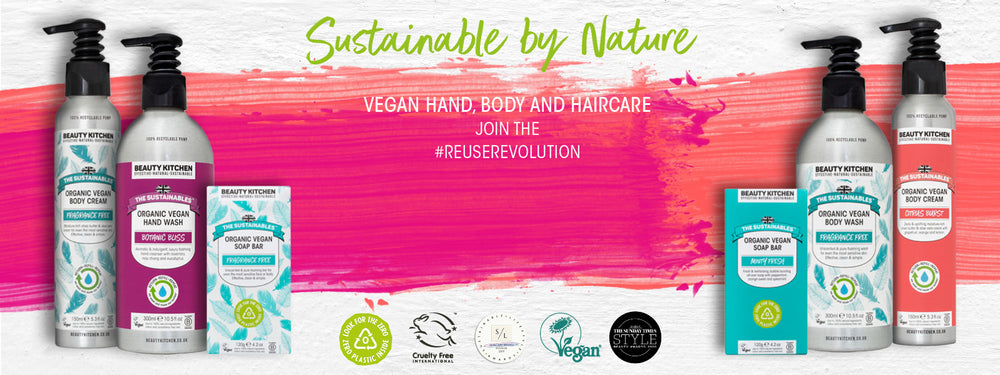 The Sustainables hand, body and haircare category banner