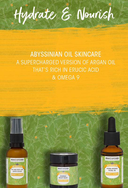 Abyssinian Oil skincare range category page banner mobile version