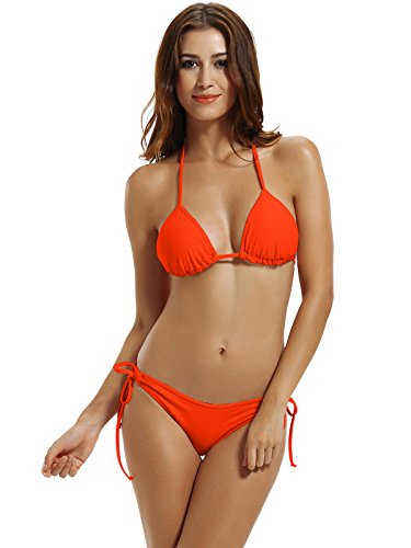 Luxe Women's Tie Side Bottom Triangle Bikini Swimsuits