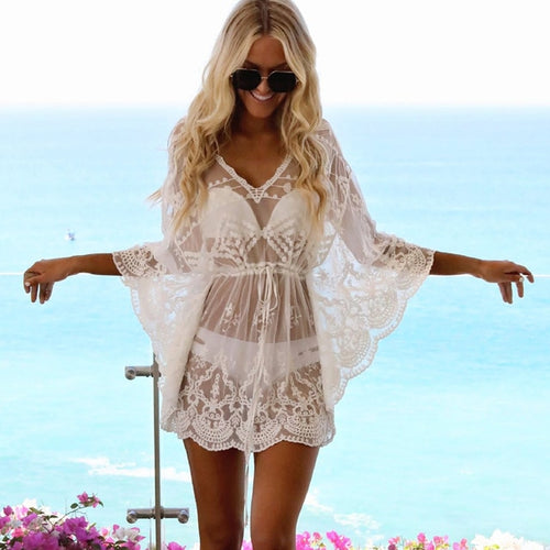 Women Bikini Cover Up Solid Lace Hollow Swimsuit Beach Dress  2019 Summer Ladies Cover-Ups Bathing Suit Beach Sexy Wear Tunic
