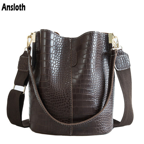 Ansloth Crocodile Crossbody Bag For Women Shoulder Bag Brand Designer Women Bags Luxury PU Leather Bag Bucket Bag Handbag HPS405