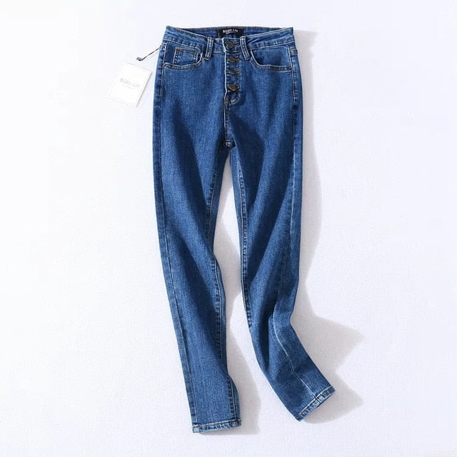 Vintage Skinny Four Buttons High Waist Pencil Jeans Women Slim Fit Stretch Denim Pants Full Length Denim Tight Trousers