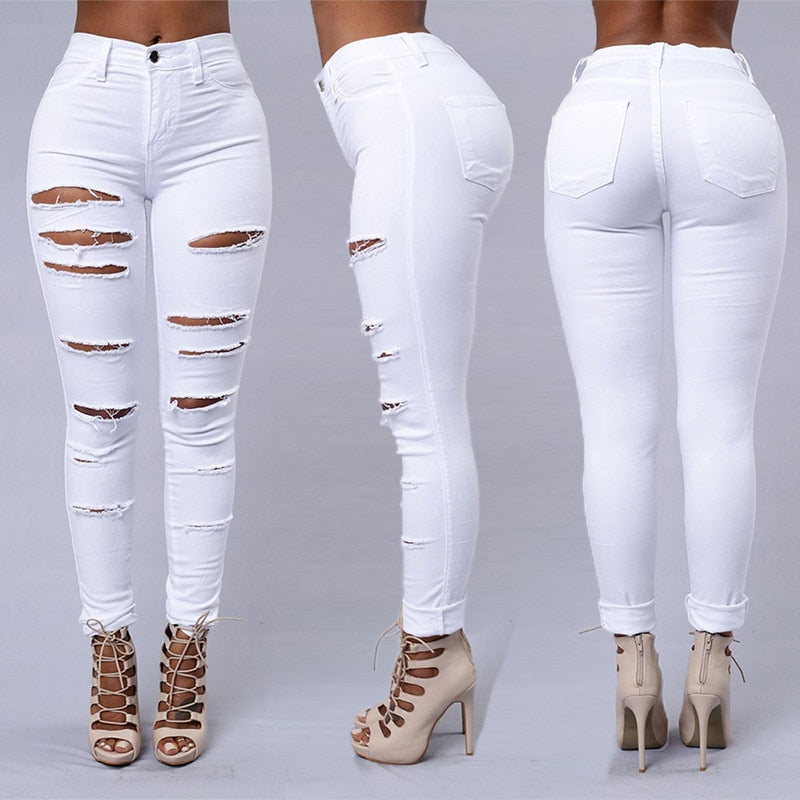 Hot sale ripped jeans for women sexy skinny denim jeans fashion street casual pencil pants female spring and summer clothing