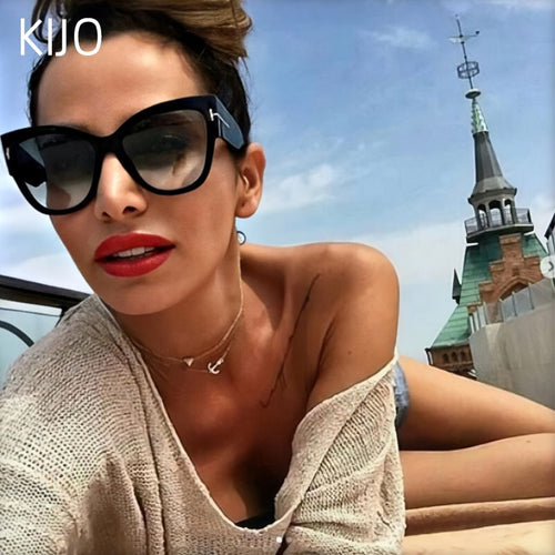 New Fashion Brand Designer Tom Cat Eye Sunglasses Women Oversized Frame Vintage Sun Glasses oculos de sol UV400