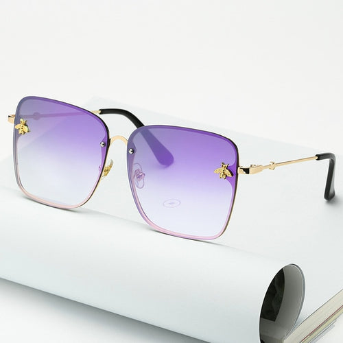 New Fashion Lady Oversize Rimless Square Bee Sunglasses Women Men Small Bee Glasses Gradient Sun Glasses Female UV400