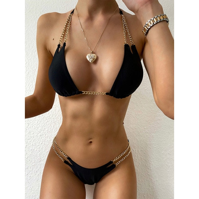 Sexy Bikini Women Swimsuit Solid Bikini Set Push Up Swimwear Low Waist Bathing Suits Beach Wear 2020 New Swimming Suit For Women