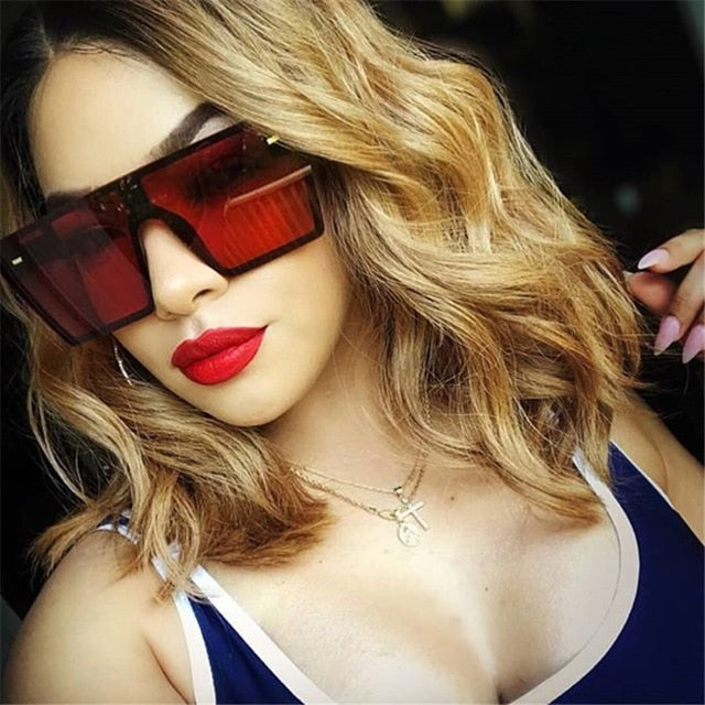 Oversized Square Sunglasses Women 2020 Luxury Brand Fashion Flat Top Red Black Clear Lens One Piece Men Gafas Shade Mirror UV400