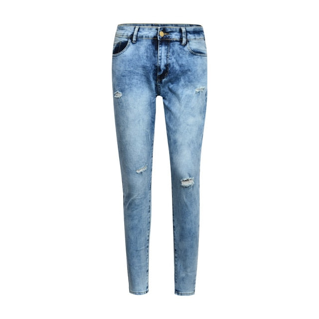 Sexy high Waist Jeans Woman Peach Push Up Hip Skinny Denim Pant Boyfriend Jean For Women Elastic Leggings blue Ripped jeans D30