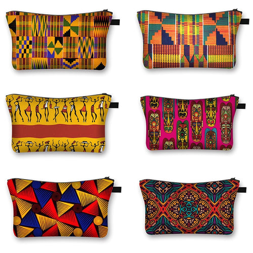 African Woman Print Cosmetic Bag Fashion Casual Small Handbag Afro Portable Storage Bags Travel Bag