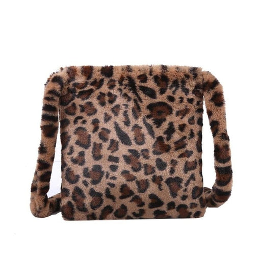 HOT Leopard Plush Shoulder Bags for Women's Autumn And Winter Fashion ladies Vintage Handbags women Large Capacity Messenger Bag