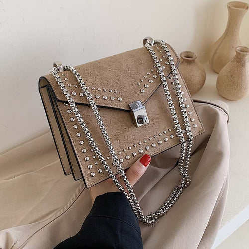 Scrub Leather Brand Designer Shoulder Simple Bags For Women 2021 Chain Rivet Luxury Crossbody Bag Female Fashion Small Handbags