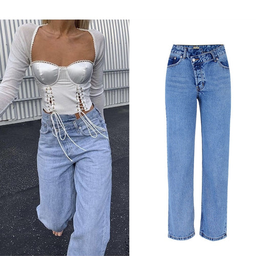 New High Waist Irregular Denim Female Flare Jeans  For Women Bell Bottom Fat Mom Jeans Wide Leg Skinny Jeans Woman Autumn Winter