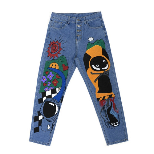 Women's Cartoon Printed Jeans Atumn Winter Girls Harem Pant Trousers Single Breasted Plus Size Female Hight Waist Denim Jean