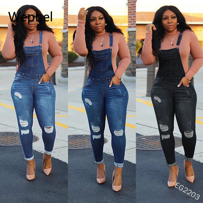 Wepbel Skinny Denim Hemming Pants Jumpsuits Plus Size Denim Overalls Fashion Holes Summer Women Jeans Casual Washed Trousers
