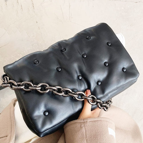 Branded Women's Shoulder Bags 2020 Denim Quality Thick Metal Chain Shoulder Purses And Handbag Women Clutch Bags Ladies Hobo Bag