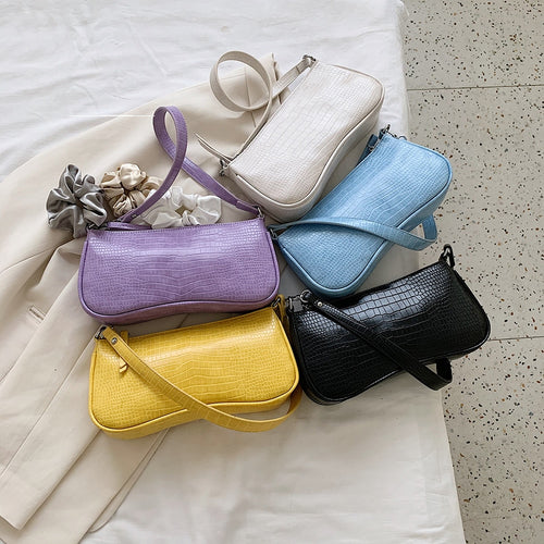 Retro Alligator Pattern Women Small Handbags Short Strap Quality PU Leather Street Casual Solid Zipper Shoulder Bag Female Gift
