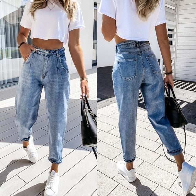 Denim Pants Women KALENMONS High Waist Washed Jeans Pocket Bleached Summer Casual Trousers 2020 Baggy Work Jean Women Vintage
