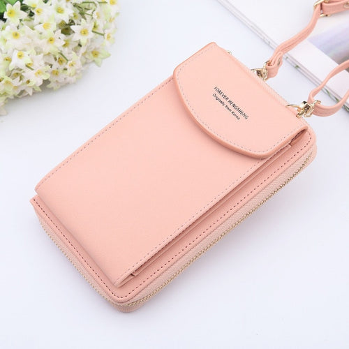 New Women Purses Solid Color Leather Shoulder Strap Bag Mobile Phone Big Card Holders Wallet Handbag Pockets for Girls