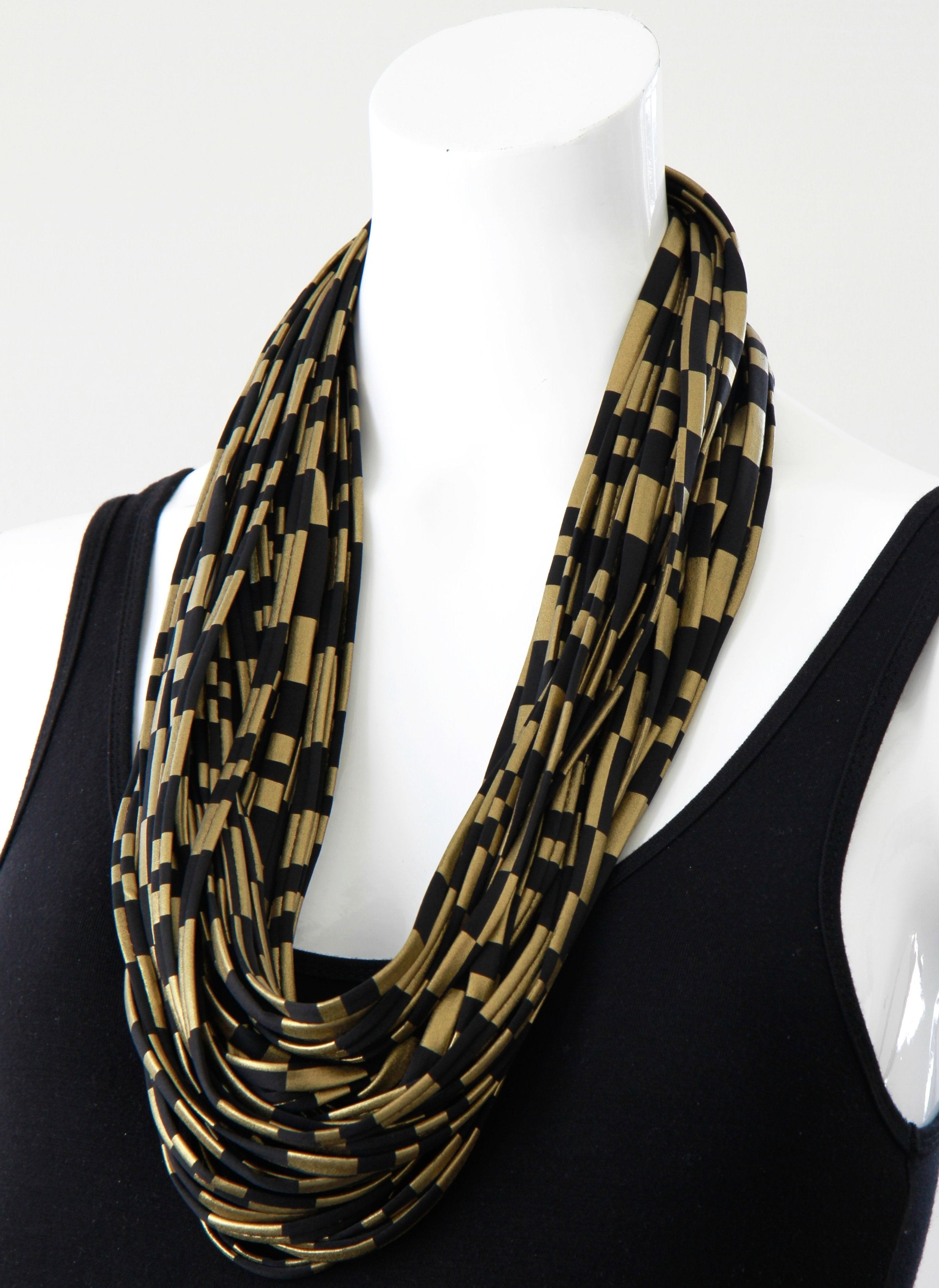 a6e03bdd09521 Gold and Black Infinity Scarf