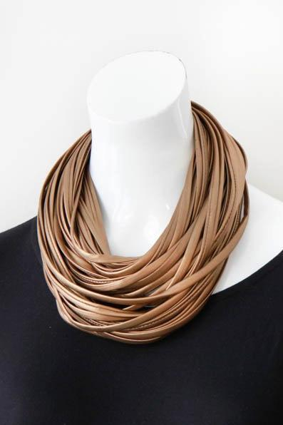 be9f4a38a7890 Infinity Scarf Necklace in Vegan Leather 'Antique Brass - Necknots