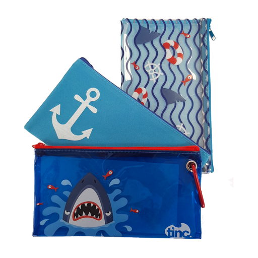 Shark Set of 3 Pencil Cases - Tinc