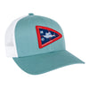 Front view of the MTKO Burgee Hat in light blue color