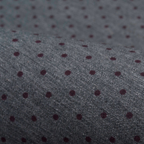 Grey Brushed Twill with Red Dots