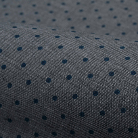 Grey Brushed Twill with Blue Dots
