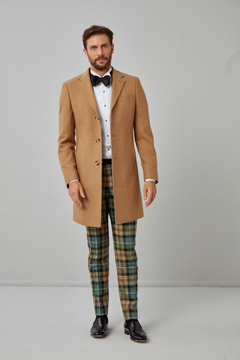 English Wool & Cashmere Solid Twill Overcoat